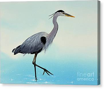Canvas Print featuring the painting Blue Water Heron by James Williamson