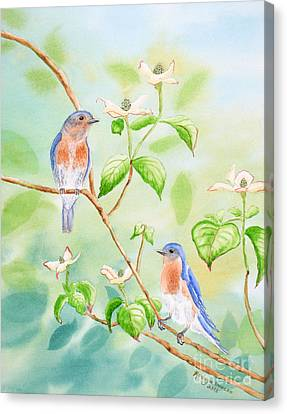 Bluebirds In Dogwood Tree Canvas Print by Kathryn Duncan