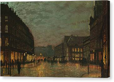 Boar Lane Leeds By Lamplight Canvas Print by John Atkinson Grimshaw