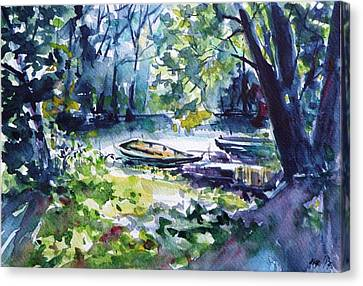 Canvas Print featuring the painting Boat by Kovacs Anna Brigitta