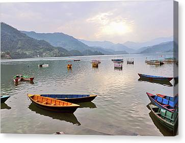 Boats Hangared In Phewa Lake Canvas Print by Mds0