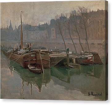 Boats On The Seine Canvas Print