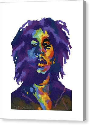 Canvas Print featuring the painting Bob Marley-for T-shirt by Stephen Anderson
