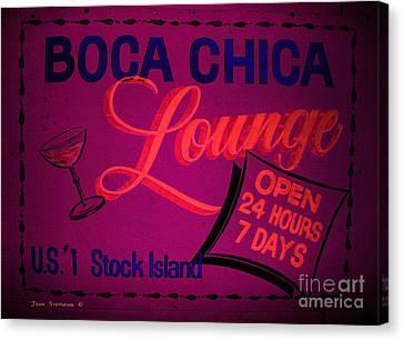Boca Chica Lounge Sign Stock Island Florida Keys Canvas Print by John Stephens
