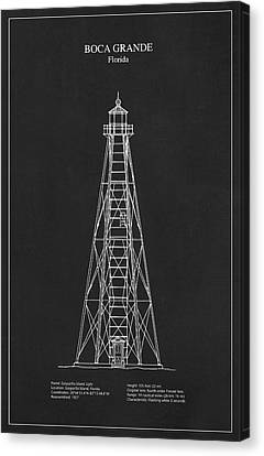 Boca Grande Lighthouse - Florida - Blueprint Drawing Canvas Print
