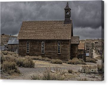 Canvas Print featuring the photograph Stormy Day In Bodie State Historic Park by Sandra Bronstein