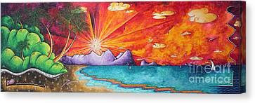 Bold Colorful Tropical Sunset Art Original Beach Painting By Megan Duncanson Canvas Print by Megan Duncanson