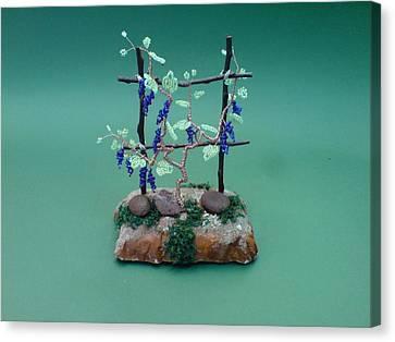 Seed Beads Canvas Print - Bonsai Wire Tree Sculpture Beaded Vineyard      by Bujas Sinisa