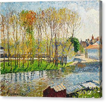 Sun Rays Canvas Print - Bords Du Loing A Moret by Celestial Images