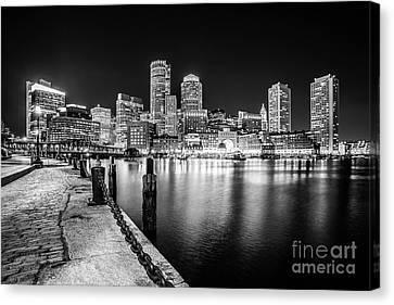 Boston Skyline At Night Black And White Photo Canvas Print by Paul Velgos