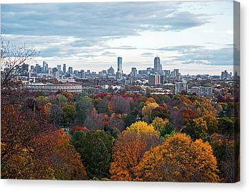 Boston Through The Autumn Trees Boston Ma Canvas Print