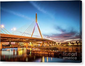 Charles River Canvas Print - Boston Zakim Bridge At Night Photo by Paul Velgos