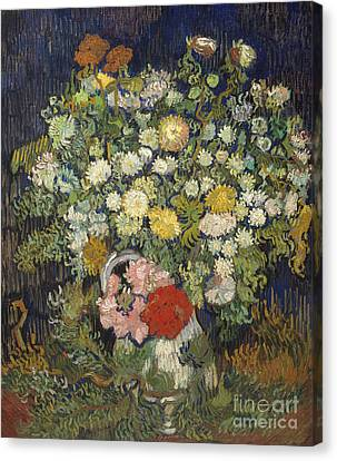 Bouquet Of Flowers In A Vase, 1890 Canvas Print by Vincent Van Gogh