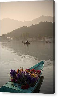 Foggy Day Canvas Print - Bouquet Of Flowers In Bow Of Boat Dal by David DuChemin