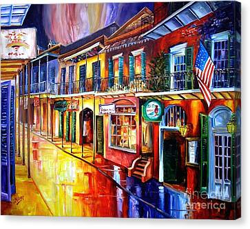 Street Lights Canvas Print - Bourbon Street Red by Diane Millsap