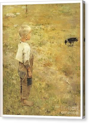 Boy With A Crow Canvas Print by Akseli Gallen-Kallela