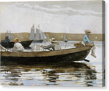 Reflected Canvas Print - Boys In A Dory, 1873  by Winslow Homer