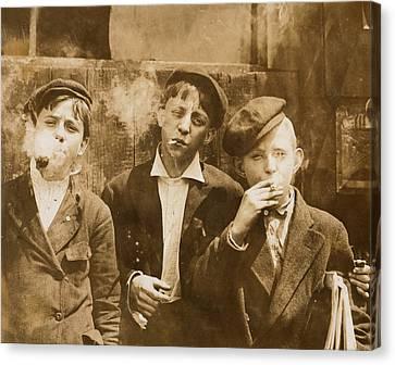 Boys Smoking, Original Caption A.m Canvas Print by Everett