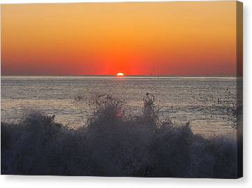 Breaking Wave At Sunrise Canvas Print by Allan Levin
