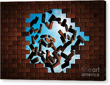 Brick Wall Falling Down Making A Hole To Sunny Sky Outside Canvas Print by Michal Bednarek