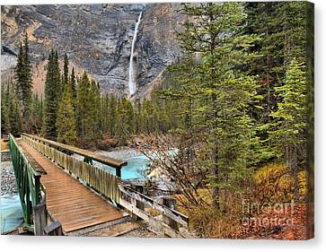 Canvas Print featuring the photograph Wooden Bridge To Takakkaw Falls by Adam Jewell