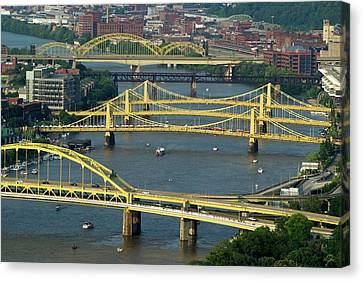 Bridges Of Pittsburgh Canvas Print by Frozen in Time Fine Art Photography