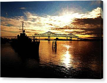 Bright Time On The River - Digital Painting Canvas Print