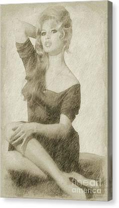 Hepburn Canvas Print - Brigitte Bardot Hollywood Actress by Frank Falcon