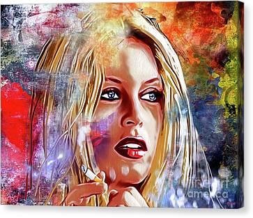 Brigitte Bardot Painted Canvas Print by Daniel Janda