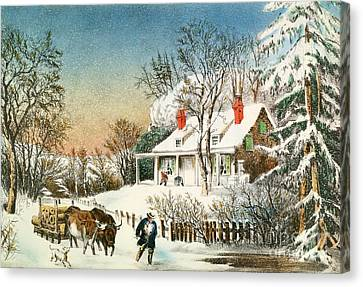 Snow Scene Canvas Print - Bringing Home The Logs by Currier and Ives