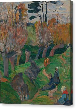 Brittany Landscape With Cows Canvas Print by Paul Gauguin
