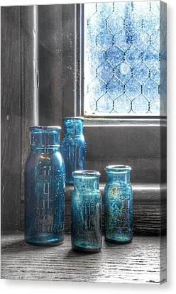 Glass Bottle Canvas Print - Bromo Seltzer Vintage Glass Bottles by Marianna Mills