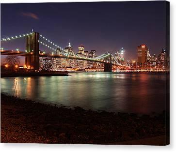 Brooklyn Bridge Nights Canvas Print by Nina Papiorek
