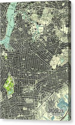 Brooklyn New York 1947 Old Map Canvas Print by Pablo Franchi