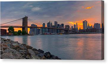 New York City Skyline Canvas Print - Brooklyn Sunset by David Hahn