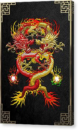Brotherhood Of The Snake - The Red And The Yellow Dragons Canvas Print by Serge Averbukh