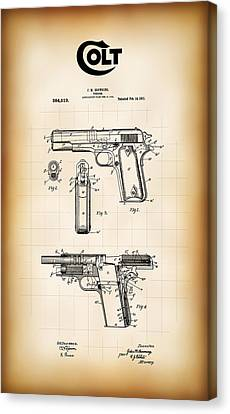 Browning Colt 45 Model 1911 Patent Canvas Print by Daniel Hagerman
