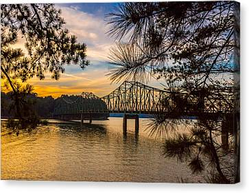 Canvas Print featuring the photograph Browns Bridge Sunset by Michael Sussman