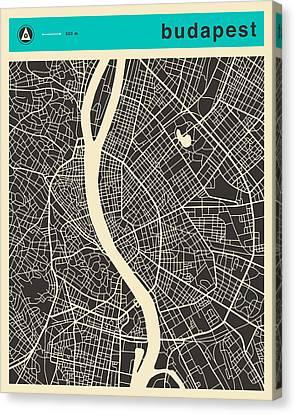 Budapest Map 1 Canvas Print