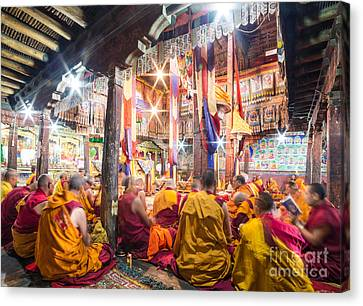 Buddhist Monks Praying In Thiksay Monastery Canvas Print