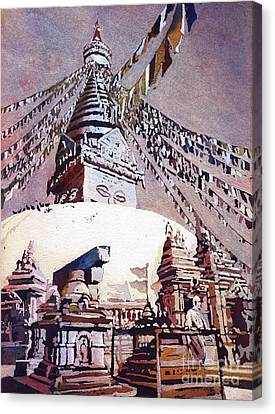 Canvas Print featuring the painting Buddhist Stupa- Nepal by Ryan Fox