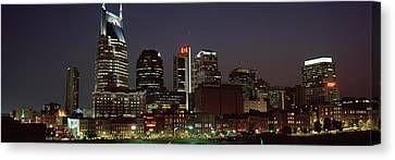 Downtown Nashville Canvas Print - Buildings Lit Up At Dusk, Nashville by Panoramic Images