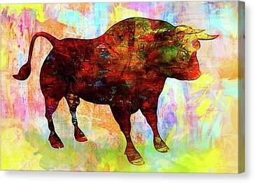 Bull Canvas Print by Elena Kosvincheva
