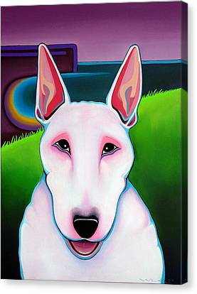Canvas Print featuring the painting Bull Terrier by Leanne WILKES