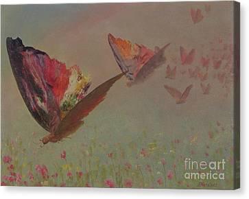Butterflies With Riders Canvas Print by Albert Bierstadt