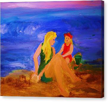 Canvas Print featuring the painting By The Sea by Evelina Popilian