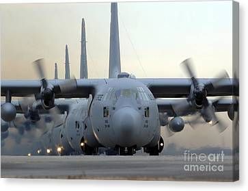 C-130 Hercules Aircraft Taxi Canvas Print by Stocktrek Images