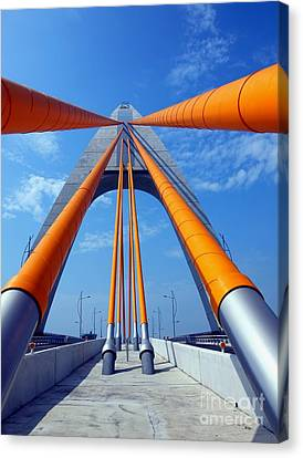 Canvas Print featuring the photograph Cable Stayed Bridge With Orange Clad Cables by Yali Shi