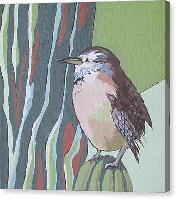 Cactus Wren Canvas Print by Sandy Tracey