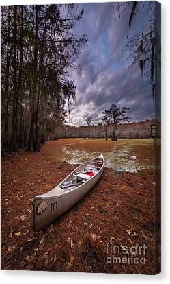Canoe Canvas Print - Caddo Canoe by Inge Johnsson